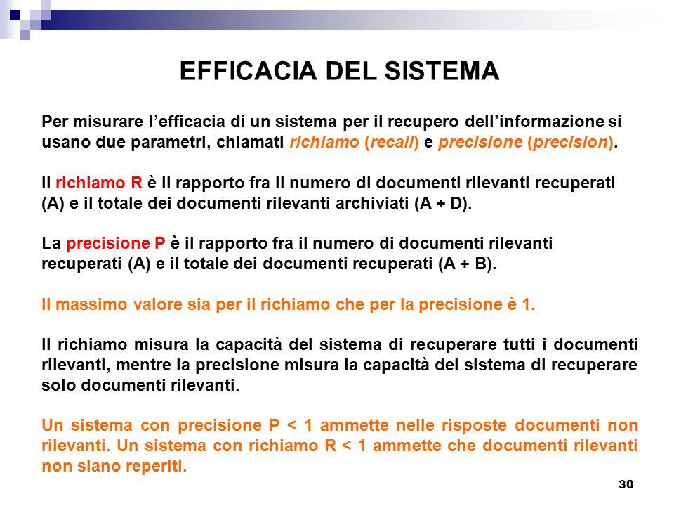 EFFICACIA DEL SISTEMA Per misurare l'efficacia di un sistema per il recupero dell'informazione si.