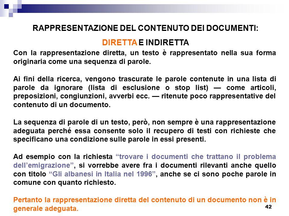 RAPPRESENTAZIONE DEL CONTENUTO DEI DOCUMENTI: