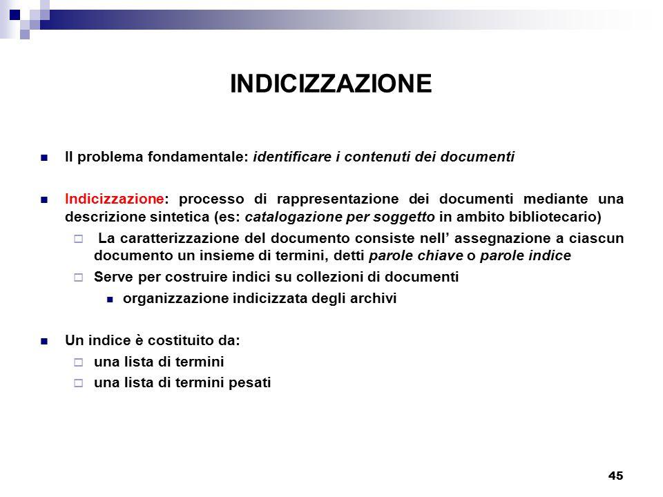 INDICIZZAZIONE Il problema fondamentale: identificare i contenuti dei documenti.