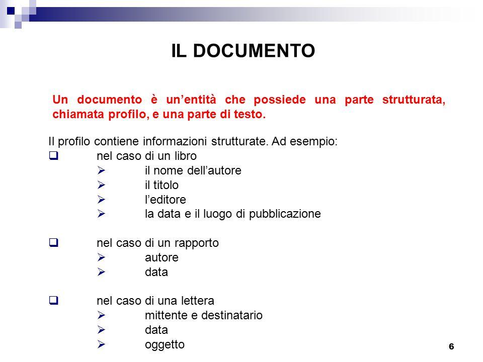 IL DOCUMENTO Un documento è un'entità che possiede una parte strutturata, chiamata profilo, e una parte di testo.