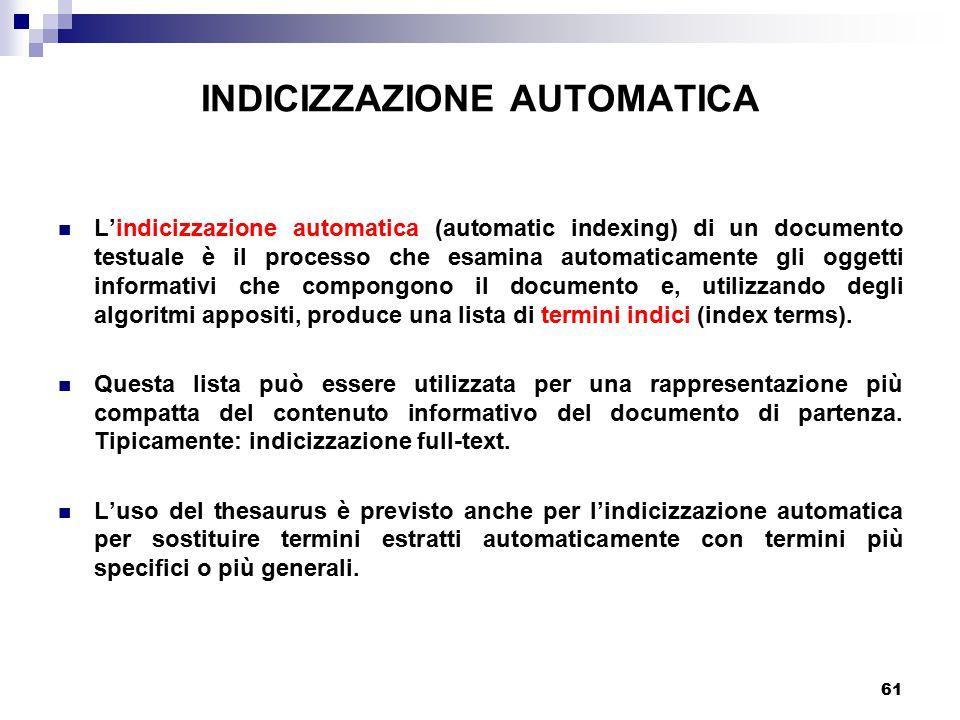 INDICIZZAZIONE AUTOMATICA