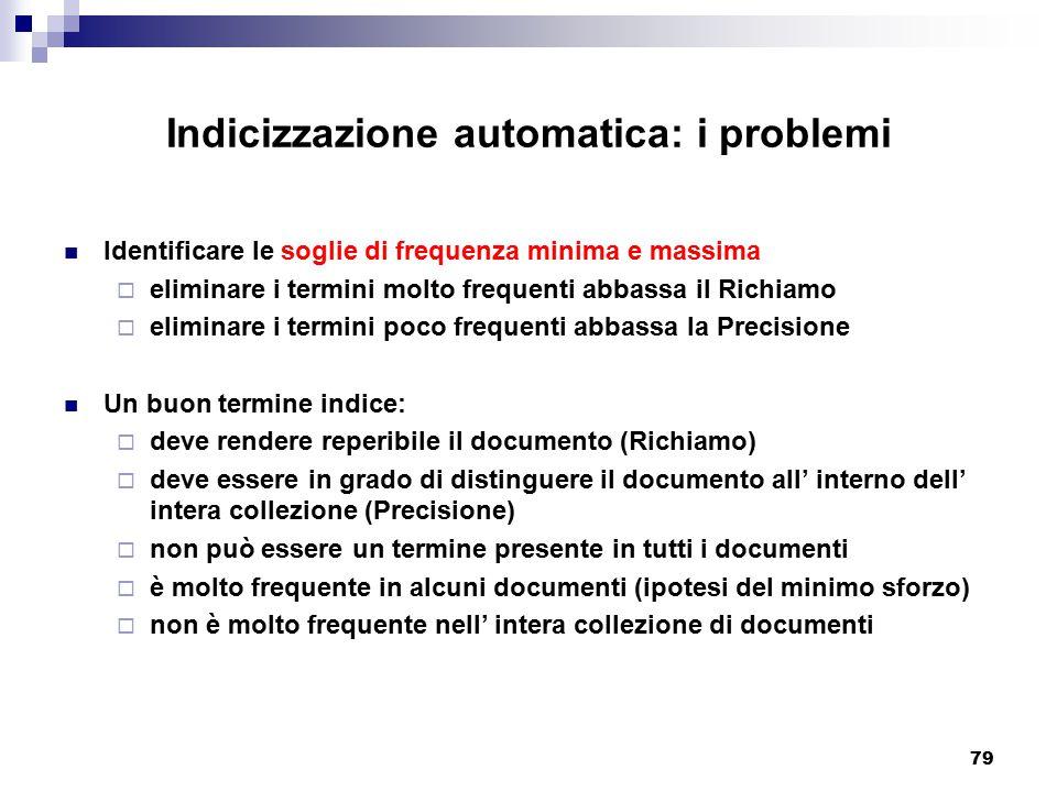 Indicizzazione automatica: i problemi