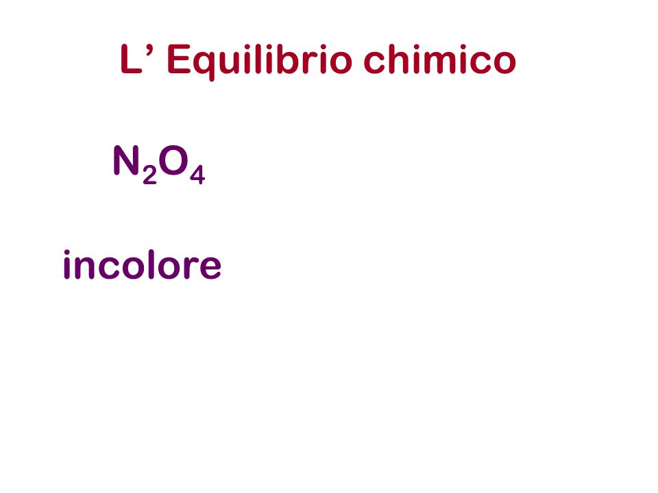 L' Equilibrio chimico N2O4 incolore