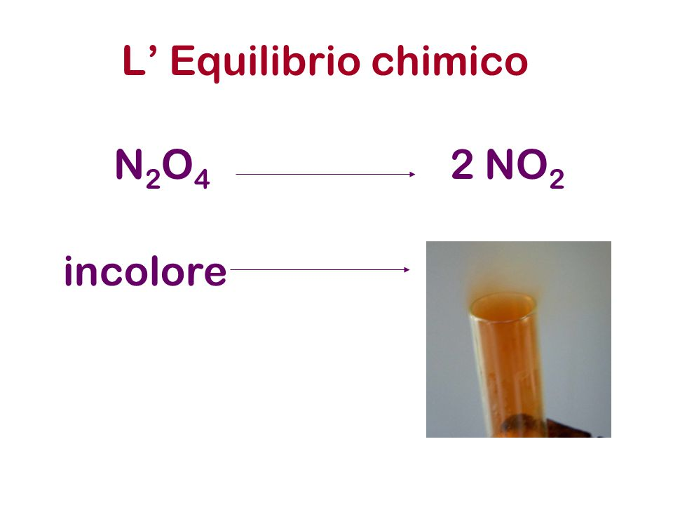 L' Equilibrio chimico N2O4 2 NO2 incolore