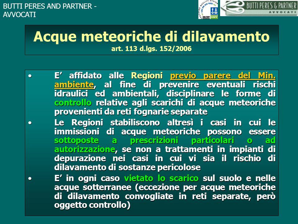 Acque meteoriche di dilavamento art. 113 d.lgs. 152/2006