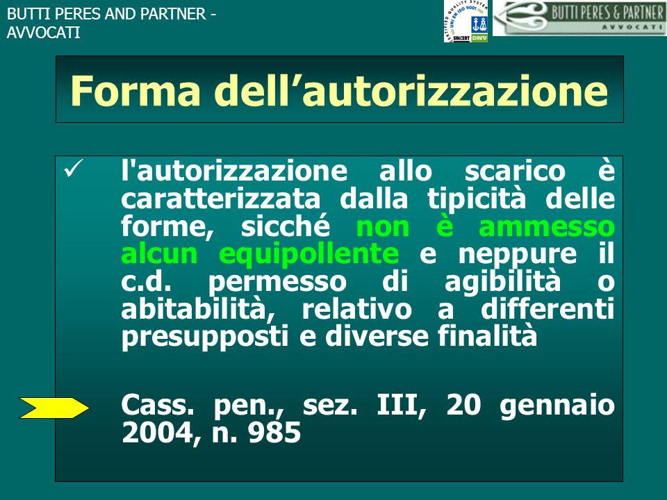Forma dell'autorizzazione