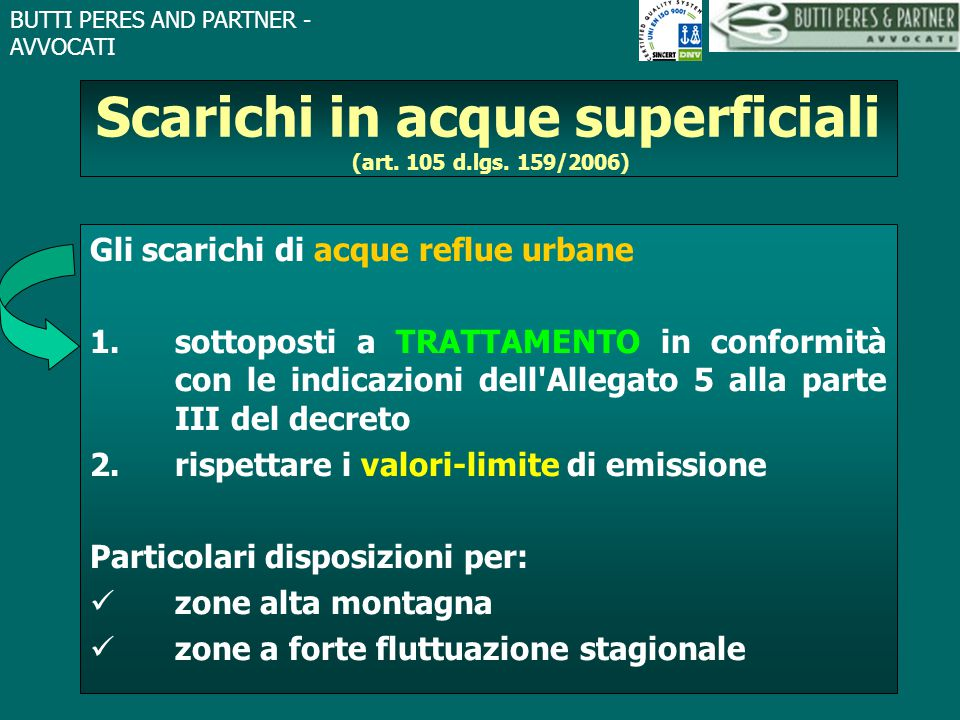 Scarichi in acque superficiali (art. 105 d.lgs. 159/2006)