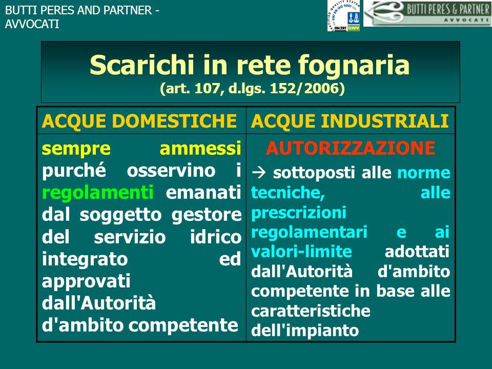 Scarichi in rete fognaria (art. 107, d.lgs. 152/2006)