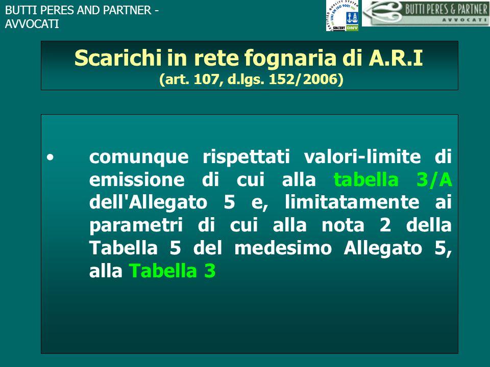 Scarichi in rete fognaria di A.R.I (art. 107, d.lgs. 152/2006)