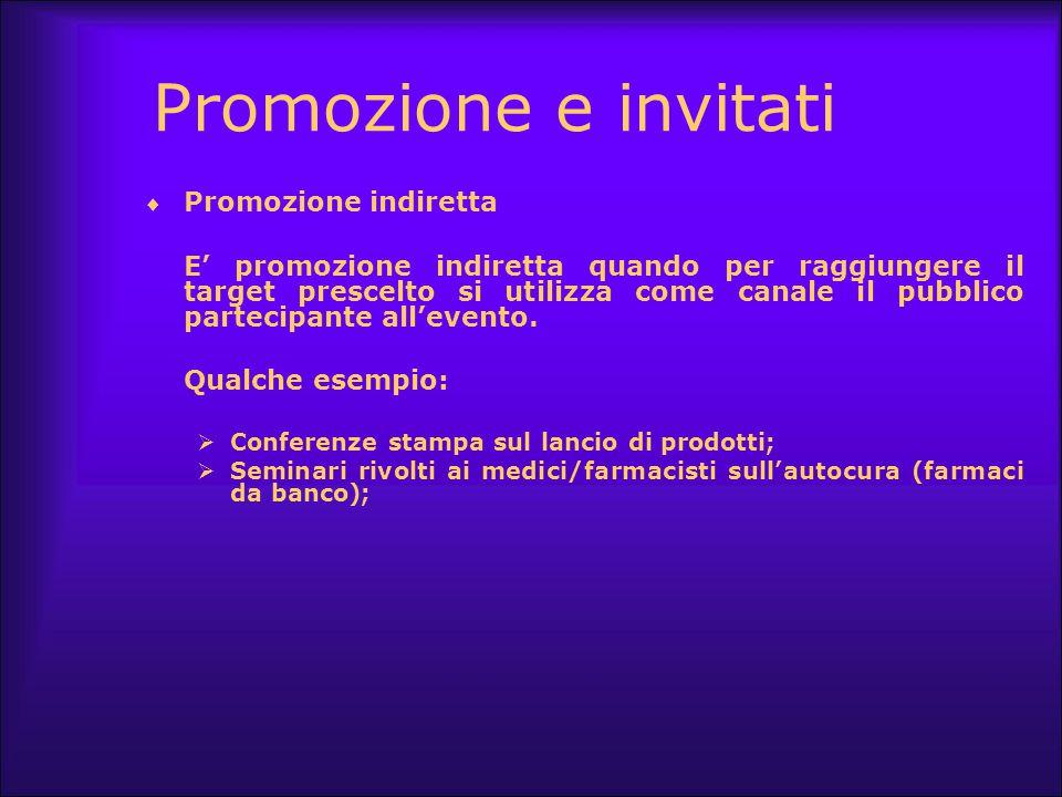 Promozione e invitati Promozione indiretta