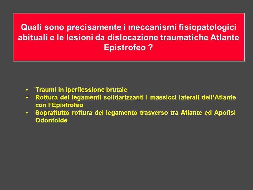 Quali sono precisamente i meccanismi fisiopatologici abituali e le lesioni da dislocazione traumatiche Atlante Epistrofeo