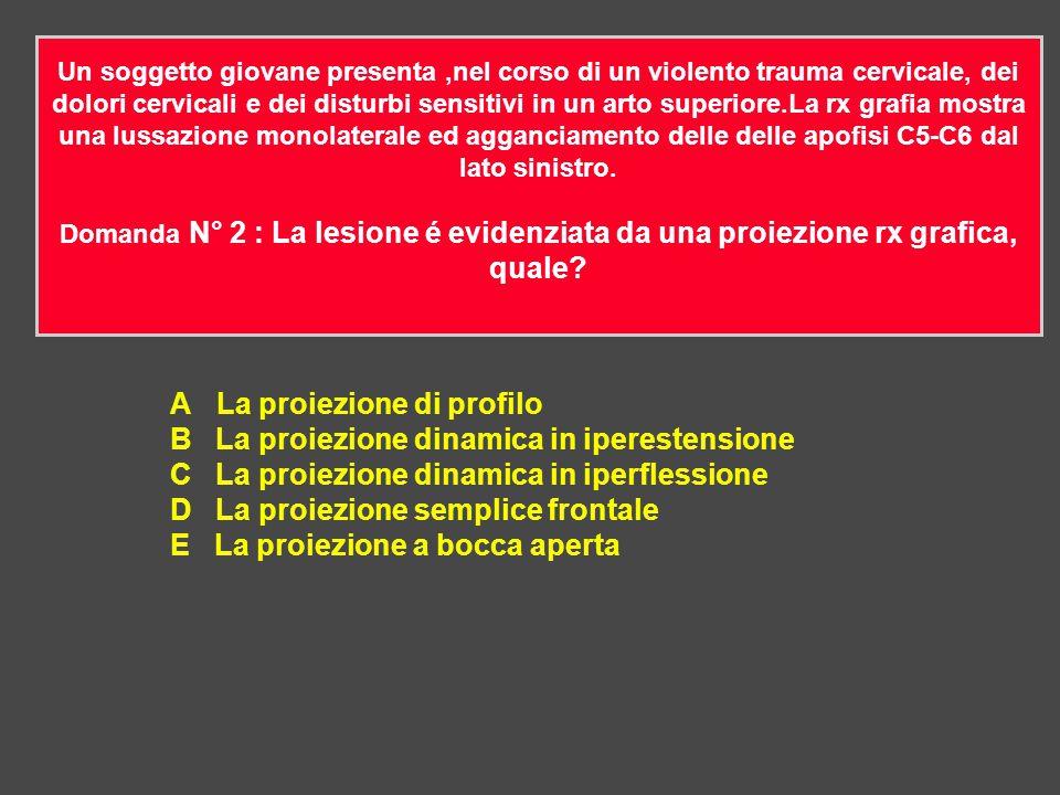 A La proiezione di profilo B La proiezione dinamica in iperestensione