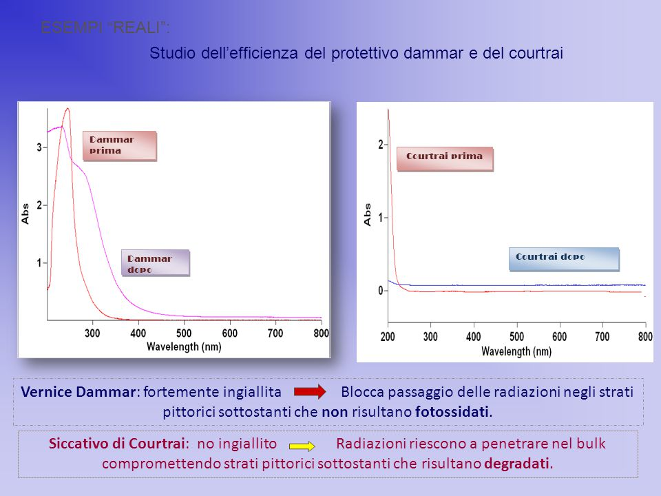 Studio dell'efficienza del protettivo dammar e del courtrai