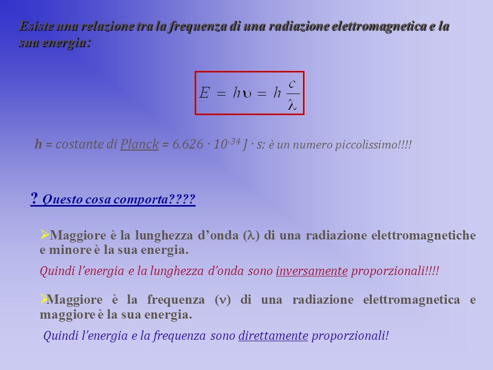 Esiste una relazione tra la frequenza di una radiazione elettromagnetica e la sua energia:
