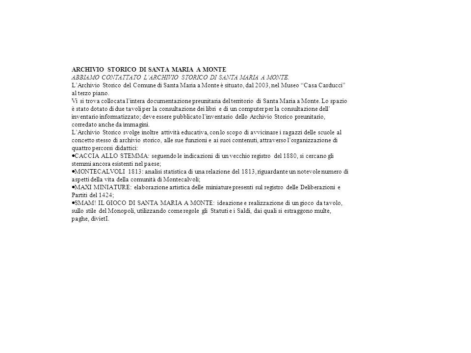 ARCHIVIO STORICO DI SANTA MARIA A MONTE