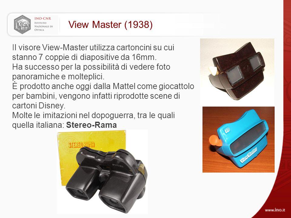 View Master (1938) Il visore View-Master utilizza cartoncini su cui stanno 7 coppie di diapositive da 16mm.