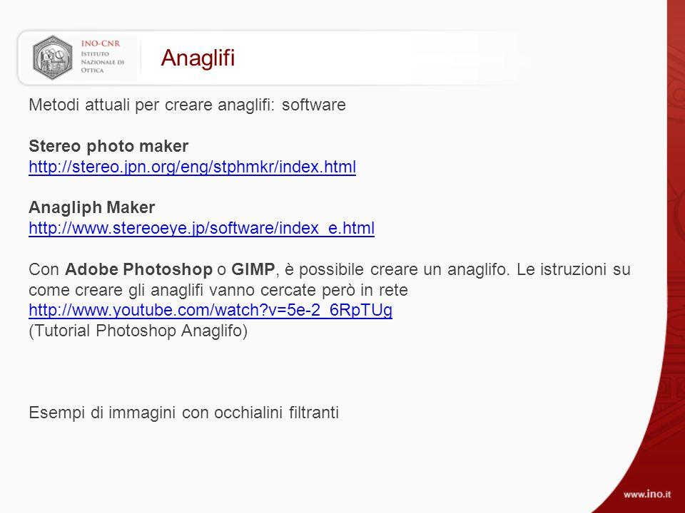 Anaglifi Metodi attuali per creare anaglifi: software