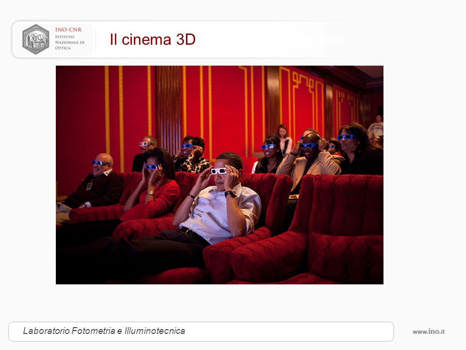 Il cinema 3D Laboratorio Fotometria e Illuminotecnica