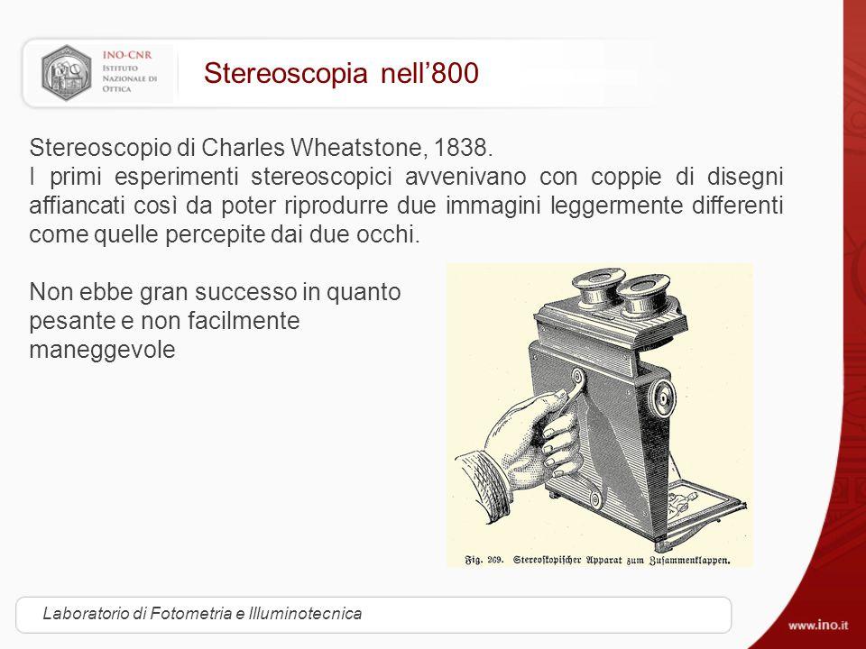 Stereoscopia nell'800 Stereoscopio di Charles Wheatstone, 1838.