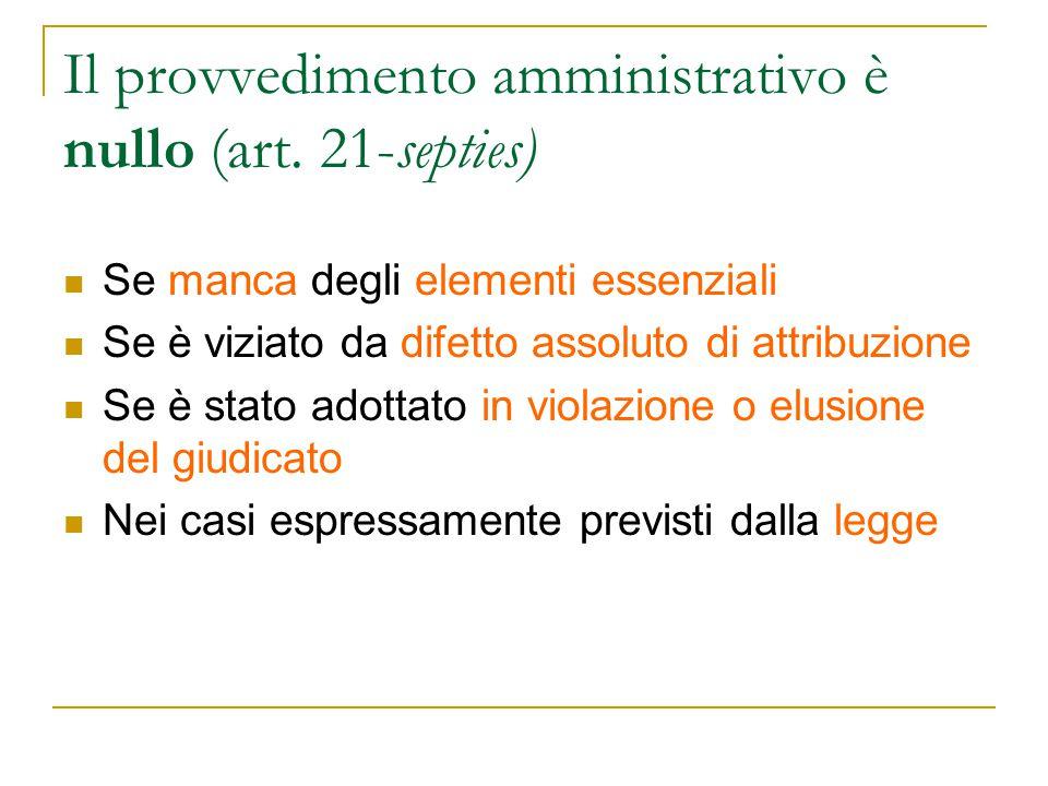 Il provvedimento amministrativo è nullo (art. 21-septies)