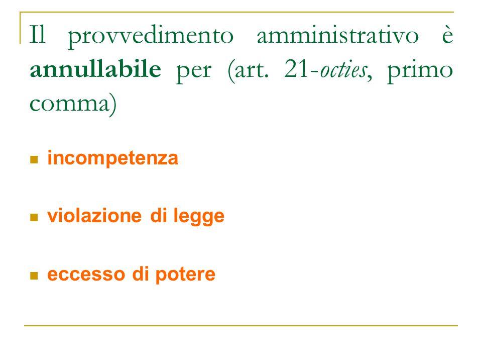 Il provvedimento amministrativo è annullabile per (art