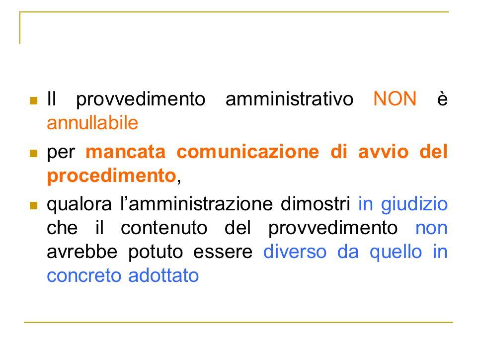 Il provvedimento amministrativo NON è annullabile