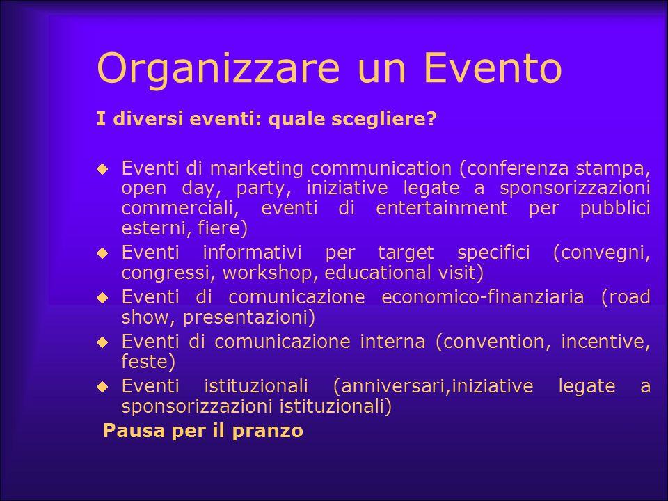 Organizzare un Evento I diversi eventi: quale scegliere