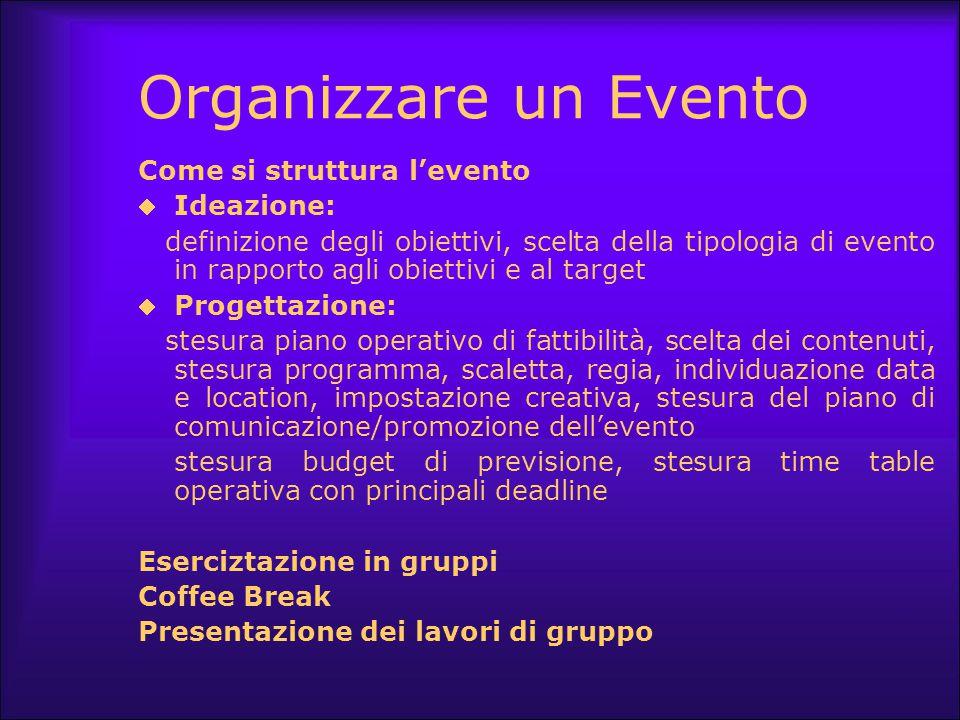 Organizzare un Evento Come si struttura l'evento Ideazione: