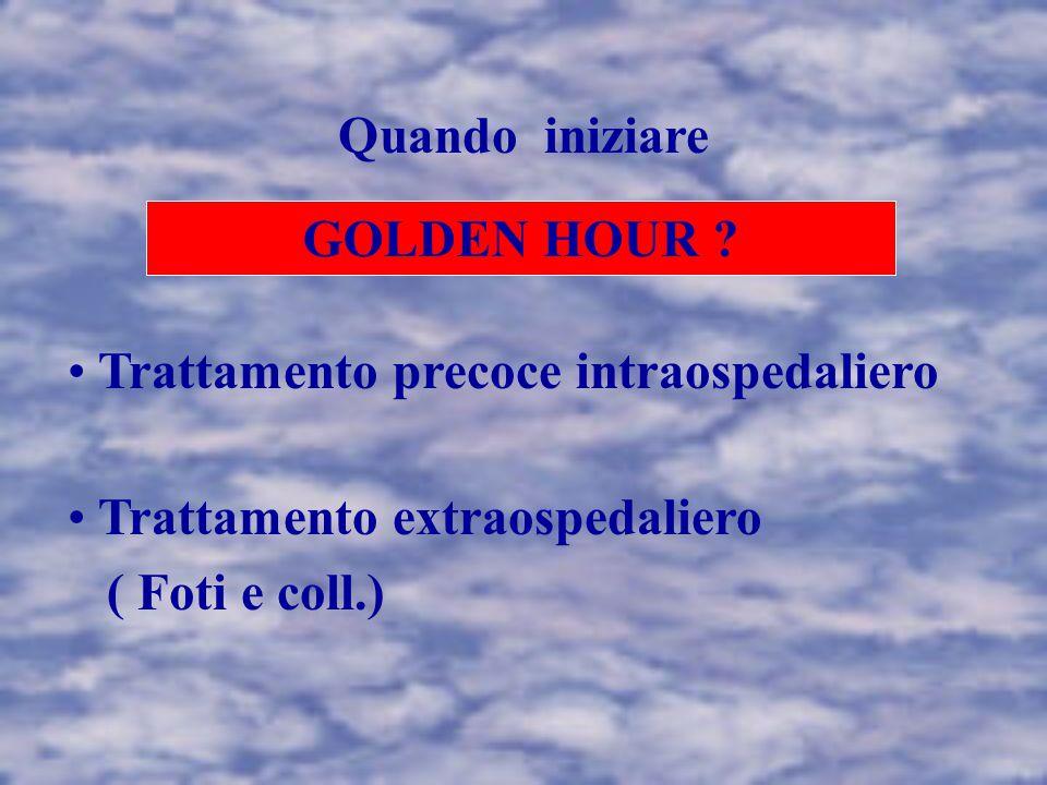 Quando iniziare GOLDEN HOUR Trattamento precoce intraospedaliero. Trattamento extraospedaliero.