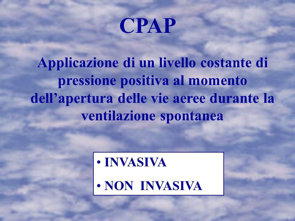 CPAP Applicazione di un livello costante di pressione positiva al momento dell'apertura delle vie aeree durante la ventilazione spontanea.