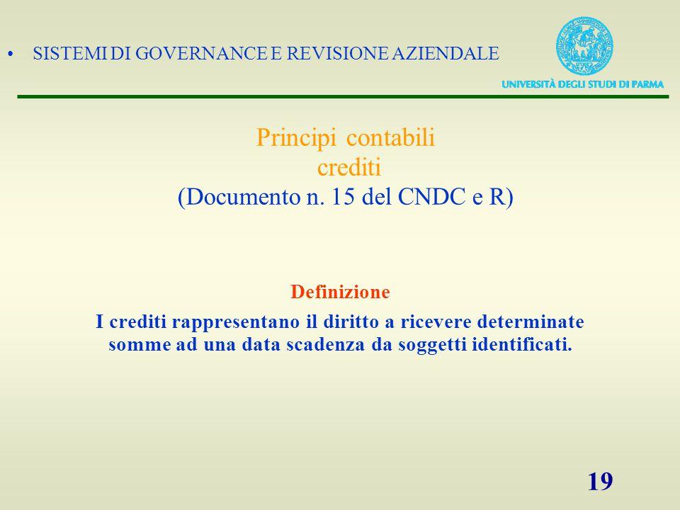 Principi contabili crediti (Documento n. 15 del CNDC e R)