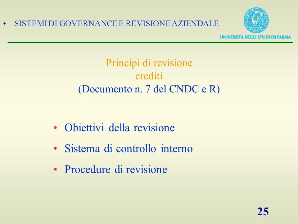 Principi di revisione crediti (Documento n. 7 del CNDC e R)