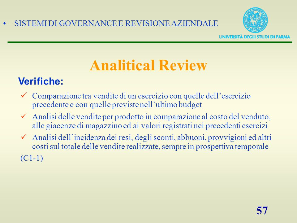 Analitical Review Verifiche: