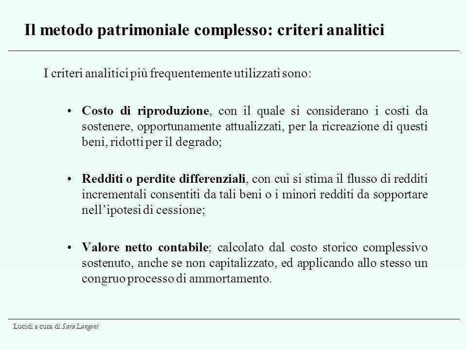 Il metodo patrimoniale complesso: criteri analitici