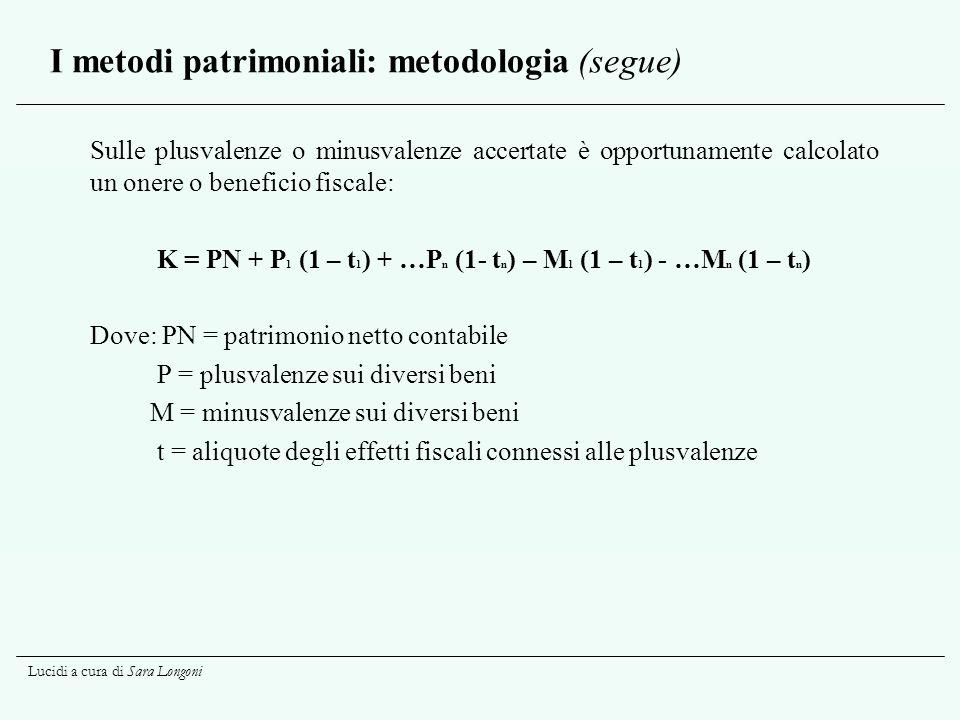 I metodi patrimoniali: metodologia (segue)