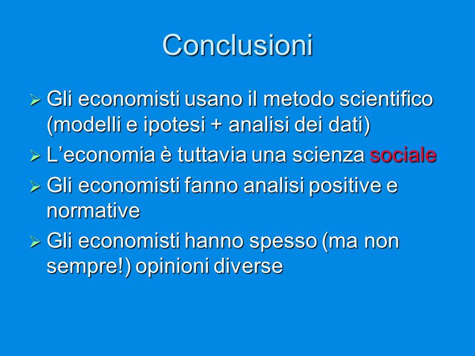 Conclusioni Gli economisti usano il metodo scientifico (modelli e ipotesi + analisi dei dati) L'economia è tuttavia una scienza sociale.