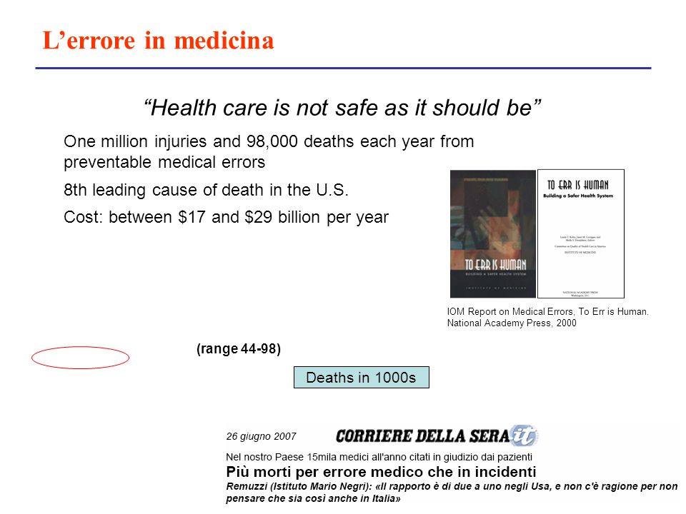 L'errore in medicina Health care is not safe as it should be