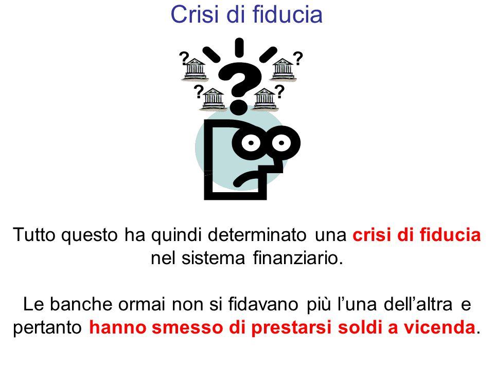 Crisi di fiducia Tutto questo ha quindi determinato una crisi di fiducia nel sistema finanziario.