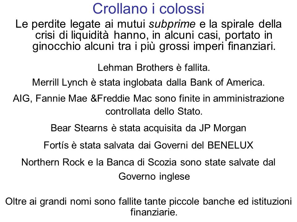 Crollano i colossi