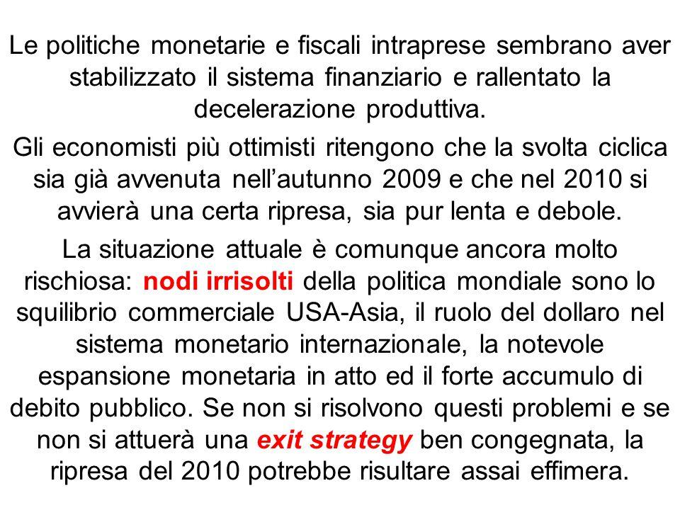 Le politiche monetarie e fiscali intraprese sembrano aver stabilizzato il sistema finanziario e rallentato la decelerazione produttiva.