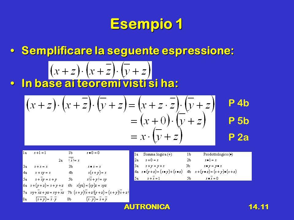Esempio 1 Semplificare la seguente espressione: