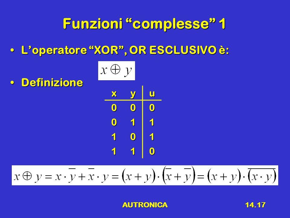 Funzioni complesse 1 L'operatore XOR , OR ESCLUSIVO è: Definizione