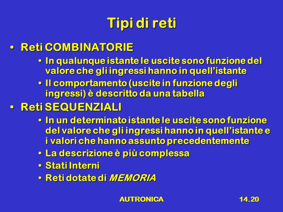 Tipi di reti Reti COMBINATORIE Reti SEQUENZIALI