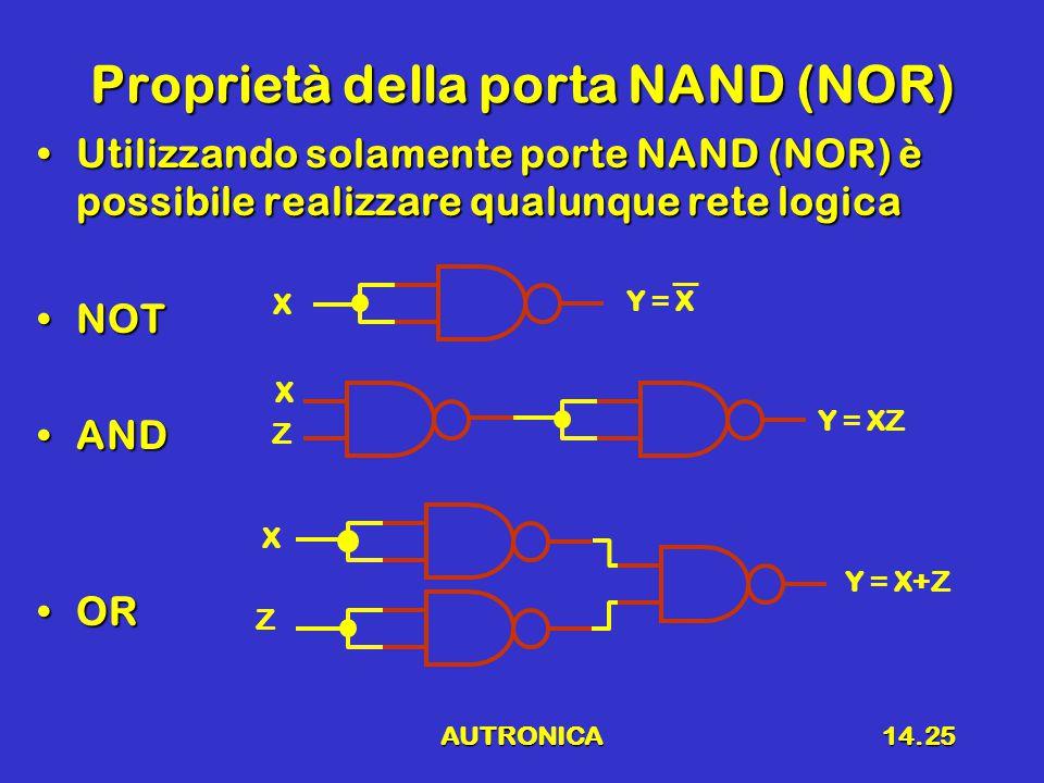 Proprietà della porta NAND (NOR)