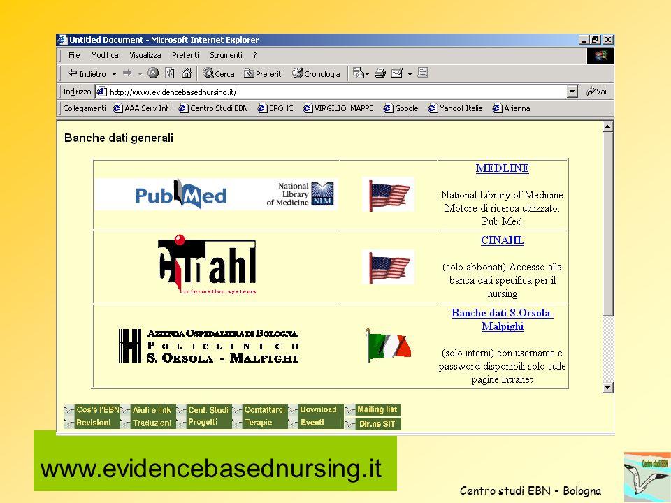 www.evidencebasednursing.it Centro studi EBN - Bologna