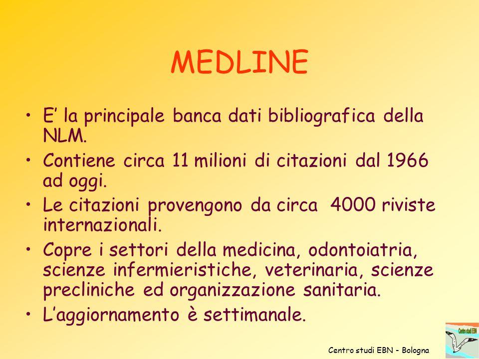 MEDLINE E' la principale banca dati bibliografica della NLM.
