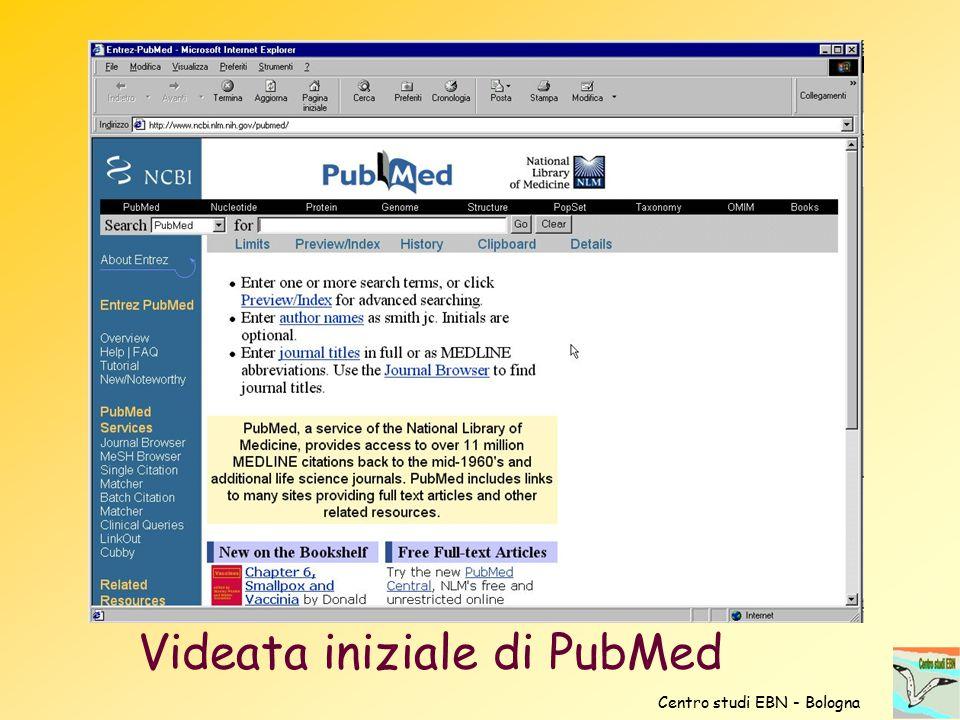 Videata iniziale di PubMed