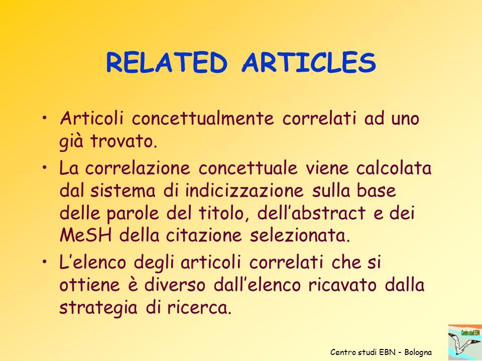 RELATED ARTICLES Articoli concettualmente correlati ad uno già trovato.