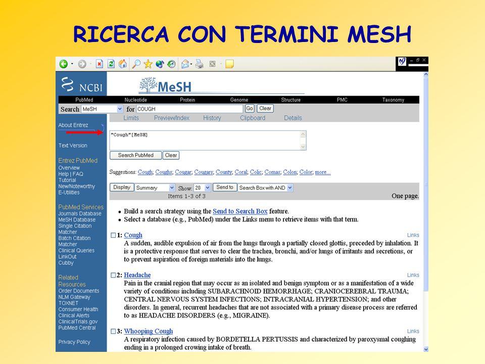 RICERCA CON TERMINI MESH