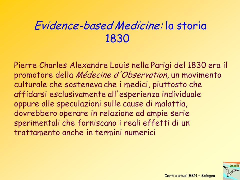 Evidence-based Medicine: la storia 1830
